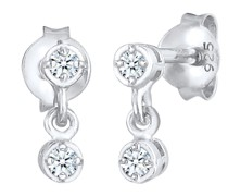 Elli DIAMONDS Ohrringe Zarte Ohrhänger Diamant (0.12 ct.) 925 Silber