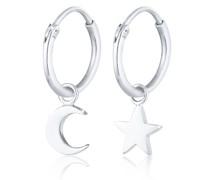 Ohrringe Creolen Ohrhänger Stern Mond Astro Look 925 Silber