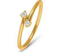 Diamonds-Damenring 375er Gelbgold 2 Diamant 56 32011822