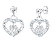 Ohrringe Edelweiss Herz Swarovski® Kristalle 925 Silber