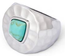 Ring Messing rekonstruierter Stein silber