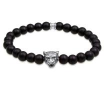 Armband Tiger Kopf Onyx Edelsteine Black 925 Silber