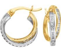-Creolen 375er Gelbgold, Weißgold Zirkonia One Size 86107120
