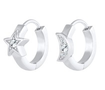 Ohrringe Creolen Sterne Mond Kristalle Silber