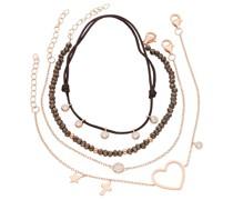 Armband Armbänder 4-teilig, Kristallsteine und Zirkonia, Silber 925
