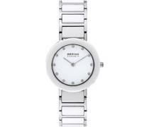 -Uhren Analog Quarz Schwarz/ Silber Edelstahl/Keramik 32002472