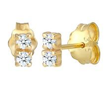 Ohrringe Ohrstecker Duo Diamant (0.12 ct.) 375 Gelbgold