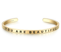 Armband YOU ARE BEAUTIFUL Edelstahl gelbgold