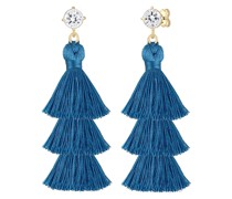Ohrringe Tassel Blau Geo Kristalle 925er Silber