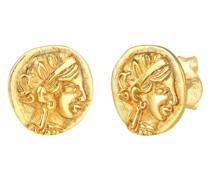 Ohrringe Stecker Coin Münze Vintage Antik Design 925 Silber