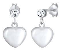 Ohrringe Hänger Herz Kristalle 925 Silber