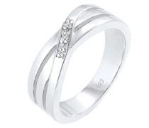 Ring Cross Over Verlobung Diamant 0.015 ct. 925 Silber