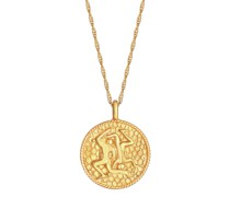 Halskette Sternzeichen Zwilling Münze 925 Silber vergoldet