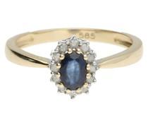 Ring Safir und Diamanten, Gold 585