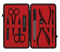 Leather-Bound Manicure Set - Black/Red
