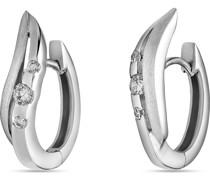 -Creolen 925er Silber rhodiniert 6 Zirkonia One Size 87679608