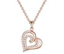 Halskette Herz Sterling Silber Zirkonia roségold