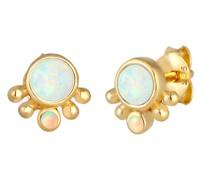 Ohrringe Stecker Rund Opal Antik 925 Silber
