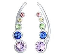 Ohrringe Earcuff Regenbogen Kristalle 925 Silber