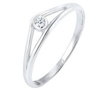 Ring Verlobungsring Geo Diamant (0.03 ct.) 925 Silber