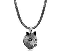 Halskette Männerkette Wolfskopf Anhänger Massiv 925 Silber