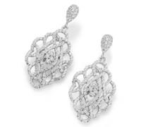 Ohrhänger Ornament durchbrochen mit Zirkonia, Silber 925 Ohrringe Weiss