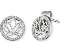 -Ohrstecker Lotus 925er Silber rhodiniert 64 Zirkon One Size 87847306
