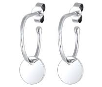 Ohrringe Hänger Kreis Creole Geo Plättchen Trend 925 Silber