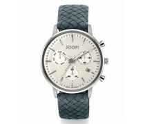 Chronograph für, Edelstahl mit Lederband, blau,