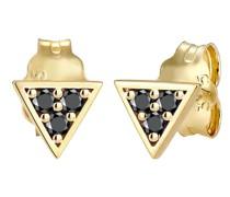 Ohrringe Dreieck Geo Black Diamant (0.09 ct) 375er Gelbgold