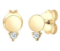 Ohrringe Ohrstecker Kreis Diamant (0.03 ct.) 585er Gelbgold