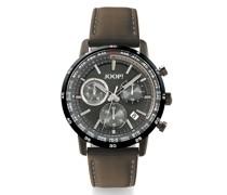Chronograph Runde Uhr von , Edelstahl mit IP Grau und braunem Lederarmband