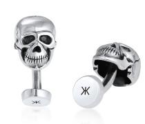Manschettenknopf Totenkopf Symbol Oxidiert Massiv Cool 925 Silber