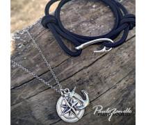 Armband Basic Echtleder Knoten Haken 925er Silber