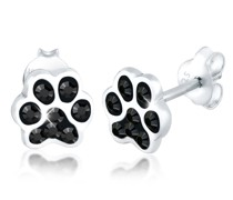 Ohrringe Pfoten Tier Hund Kristalle 925 Silber