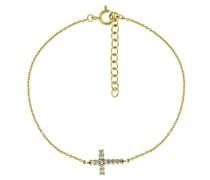 Armband Mittelteil Kreuz, Zirkonia Steine, Silber 925