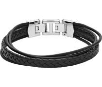 -Herrenarmband Leder/Edelstahl Schwarz 32012512 Armbänder & Armreifen