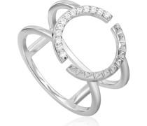 -Damenring 925er Silber Zirkonia Gold 32014650