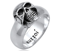 Ring Siegelring Totenkopf Oxidiert 925er Silber