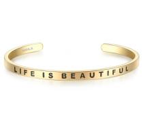 Armband LIFE IS BEAUTIFUL Edelstahl gelbgold