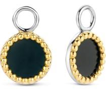 -Ohrringe 925er Silber Farbstein Bicolor/Schwarz 32014810