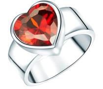 Ring Sterling Silber Zirkonia rotHerzform