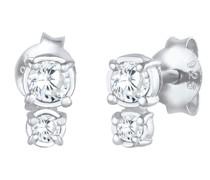 Ohrringe Ohrstecker Zirkonia Basic Rund 925 Silber