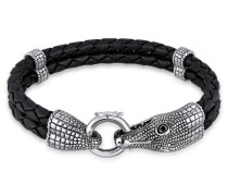 Armband Lederarmband Krokodil 925 Sterling Silber