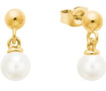 Ohrring für mit Perlen aus gelbvergoldetem Sterling Silber 925
