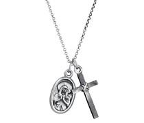 Halskette Marienbild Kreuz Religion Glaube 925 Silber