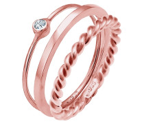 Ring Set Trend Solitär Swarovski® Kristalle 925 Silber