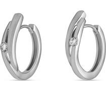 -Creolen 925er Silber rhodiniert 2 Zirkon One Size 87679543