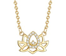 Halskette Lotusblume Sterling Silber Zirkonia gelbgold