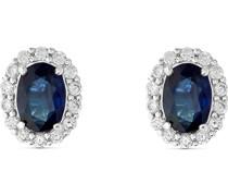 -Ohrstecker 585er Weißgold 28 Diamant Smaragdfarben 32012924